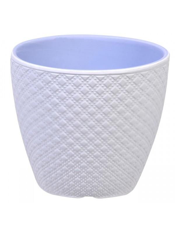Ghiveci din Ceramica Alb Emboss 12x10